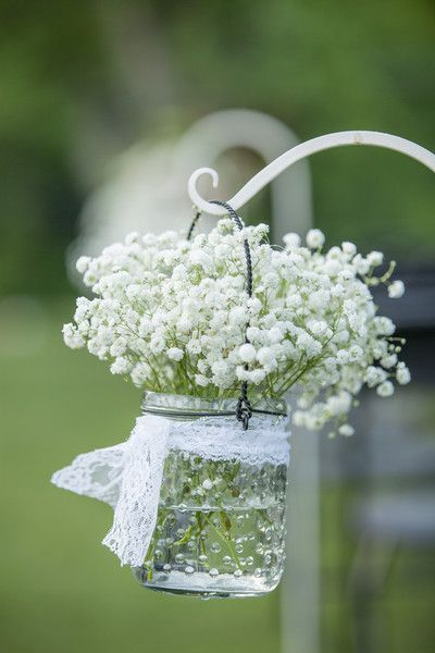 A gorgeous baby's breath aisle marker! {BraskaJennea Photography}