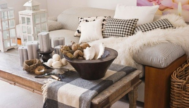 cozy living room, fur, wood, candles and white color