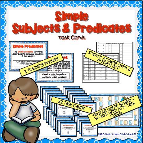 $Simple Subject & PredicatesTask Cards - Task cards are the perfect way for students to review and practice their understanding of simple subjects and predicates.  This printable set includes two subject and predicate teaching posters, 32 task cards, a student answer sheet, answer key and a bonus game board template.
