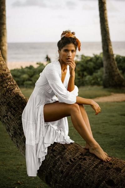 873061a2a56 White Beach Sexy Long Sleeve Maxi Dress – stylinbo | Beach Dinner in ...
