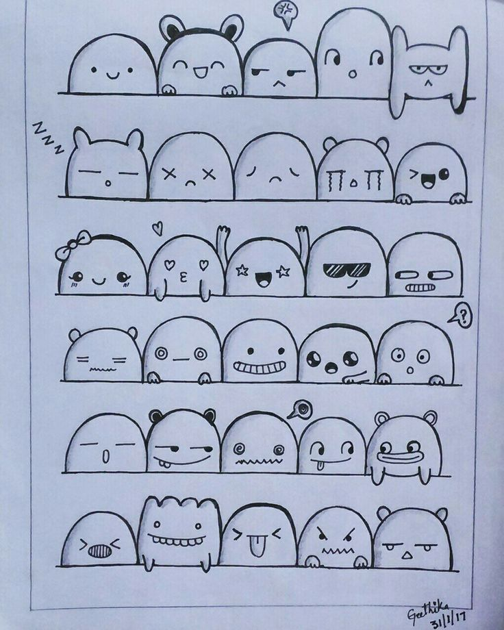 Doodle face expressions #doodles  By @geethika253