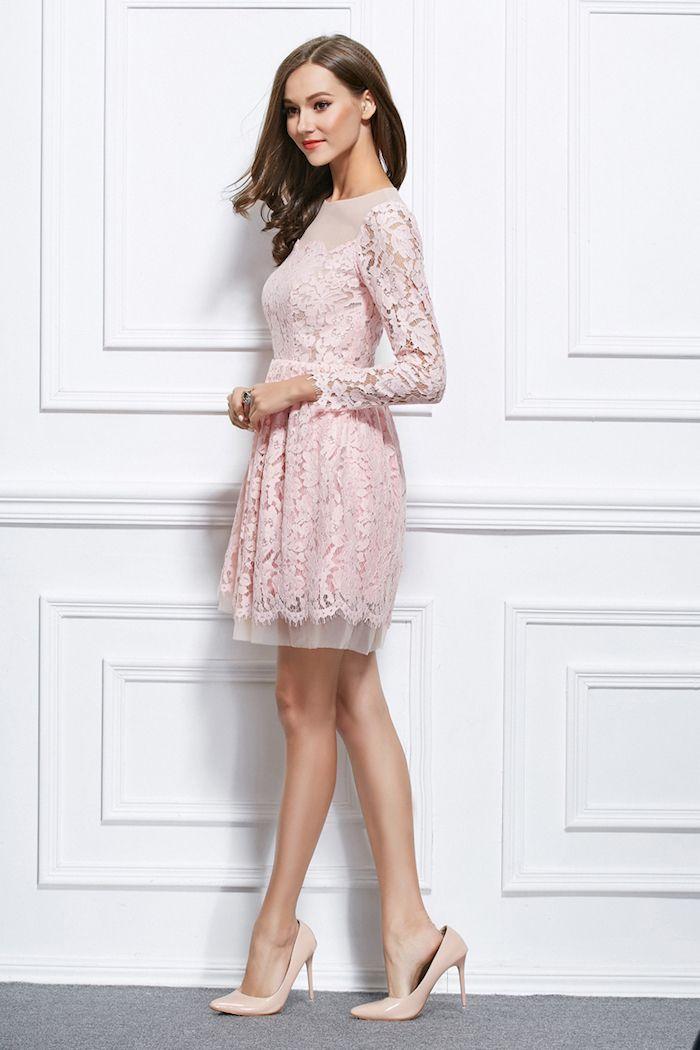 0fec7e574d7 Chouette tenue robe bapteme femme robe cocktail courte belle tenue femme  robe rose poudré dentelle robe