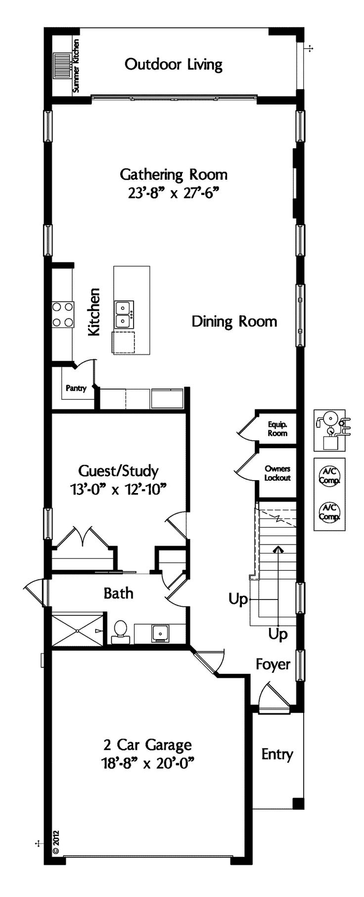 The 25 best narrow lot house plans ideas on pinterest narrow house plans retirement house - Narrow house plan paint ...