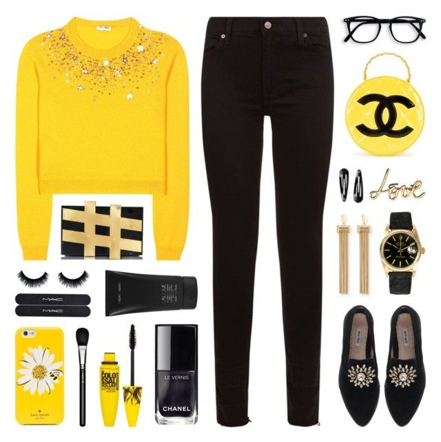 """""""I've Got Sunshine on a Cloudy Day"""" by lgb321 ❤ liked on Polyvore featuring 7 For All Mankind, Miu Miu, Chanel, Kate Spade, Rolex, Lalique, Chloé, Lanvin, Maybelline and MAC Cosmetics"""