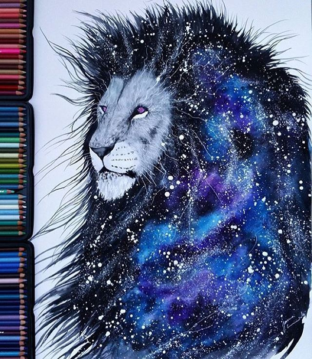 """""""Gorgeous Galaxy Lion done on A2 watercolour paper by: @scandy_girl  - Follow my tattoo page for daily pictures of tattoos: @inkspiringtattoos """""""