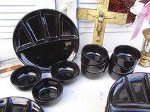 6 vintage Fondueteller & 9 Dipschalen Keramik
