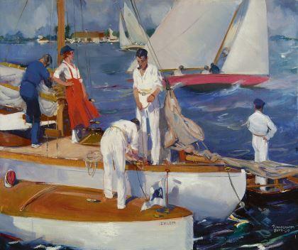 Pieter 'Piet' van der Hem (1885-1961) Sailing, oil on canvas. Collection Simonis & Buunk, The Netherlands.