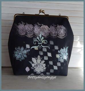 Stencilezett keretes táska / Stenciled frame bag