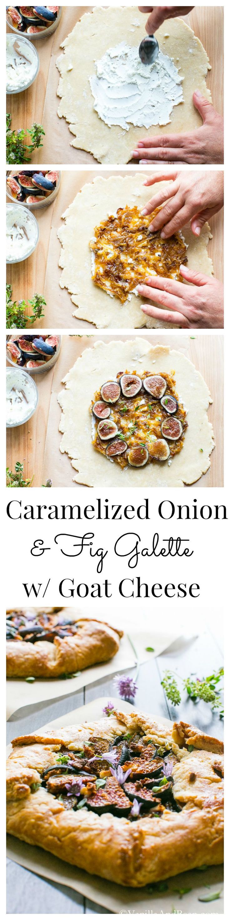 A rustic, savory tart served as an appetizer or main; Caramelized Onion and Fig Galette with Goat Cheese and Herbs | Vanilla And Bean