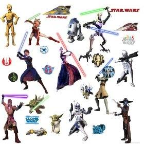 RoomMates RMK1382SCS Star Wars: The Clone Wars Glow in the Dark Wall Decals, (clone wars, star wars, yoda, obi-wan, wall decor, wall stickers, anakin skywalker, home d�cor accents, star wars room decorations, 3d)