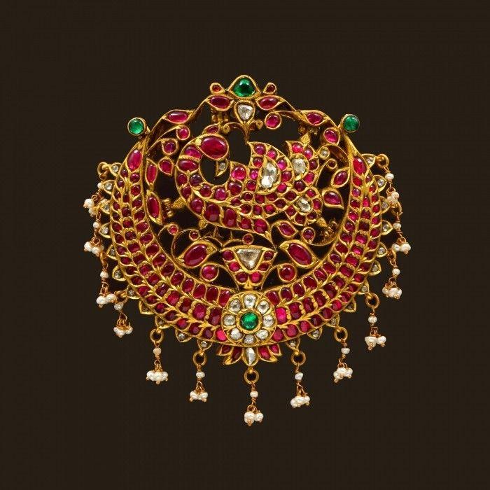 Gold Peacock Pendant with Dangly Pearls (VBJ-OW-GP-15) | Vummidi Bangaru Jewellers