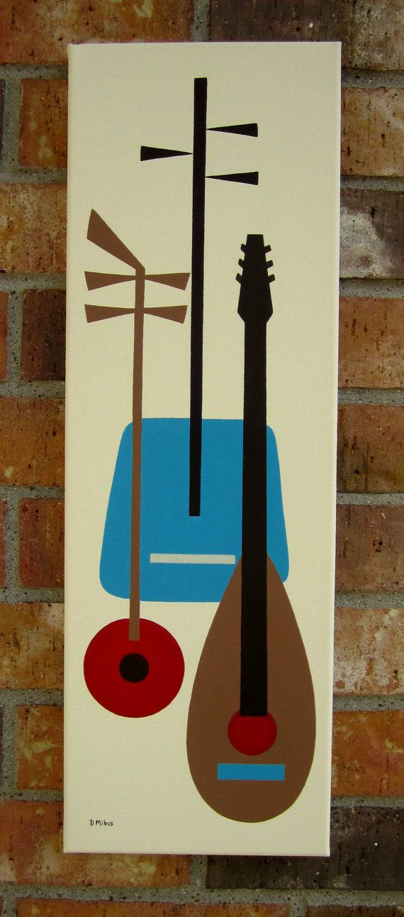 8 X 24 Original Painting Mid Century Modern inspired by donnamibus