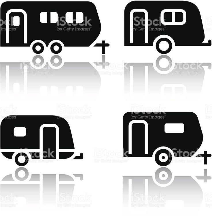 Zestaw ikon transportu-przyczep stockowa ilustracja wektorowa royalty-free