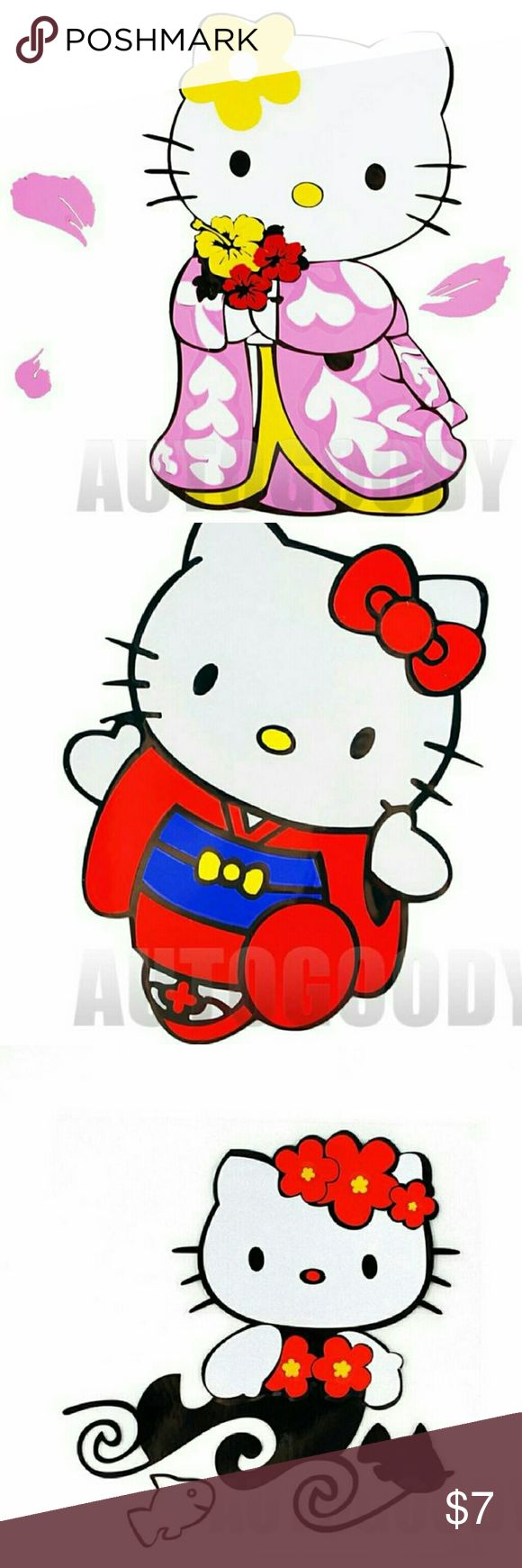 1 pc. Hello Kitty Colored Vinyl Decal 1 Pc (4 styles to select from)   1 (3x4) ) Hello Kitty Vinyl Colored Teddy & Kitty Decal  1 (3.5 x 4.5) Hello Kitty Vinyl Colored Red Male Kimono Decal  1 PC HELLO KITTY PINK KIMONO VINYL Hello Kitty Accessories
