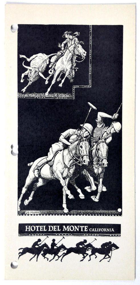1938 Vintage JO MORA Menu HOTEL DEL MONTE Monterey CA Caballero Polo Horse Race