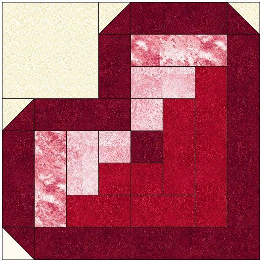 Log Cabin Heart Quilt Block Pattern Download – The Feverish Quilter