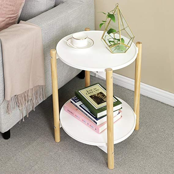 Songmics 2 Tier Side Table Scandinavian End Table With Removable Trays Round Coffee Table With Solid Pine Legs Living Room Sets Furniture Coffee Table Table