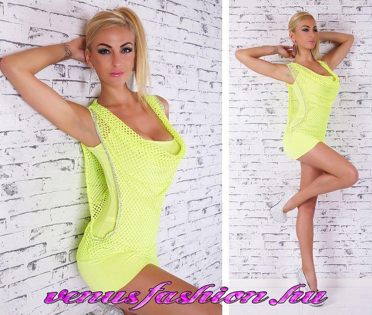 Divatos sárga strasszos kámzsás tunika - Venus fashion női ruha webáruház
