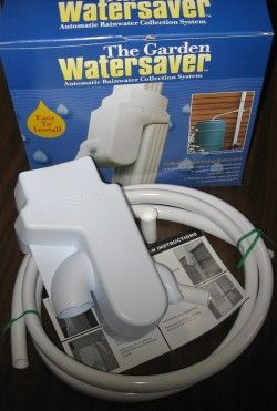 Garden Watersaver Downspout Diverter  Website has good information for building rainbarrels and how to find free or low cost items http://gardenwatersaver.com/
