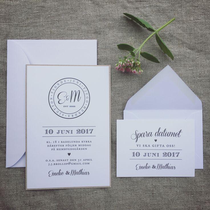 Inbjudningskort till bröllop eller fest. Save the date-kort på samma tema. Stämpel/monogram. www.annagorandesign.se