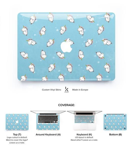 MacBook skin cover with tiny, fluffy unicorns! Made to protect and look fabulous. Easy to apply with no bubbles and goo-free removal. Made in Europe!