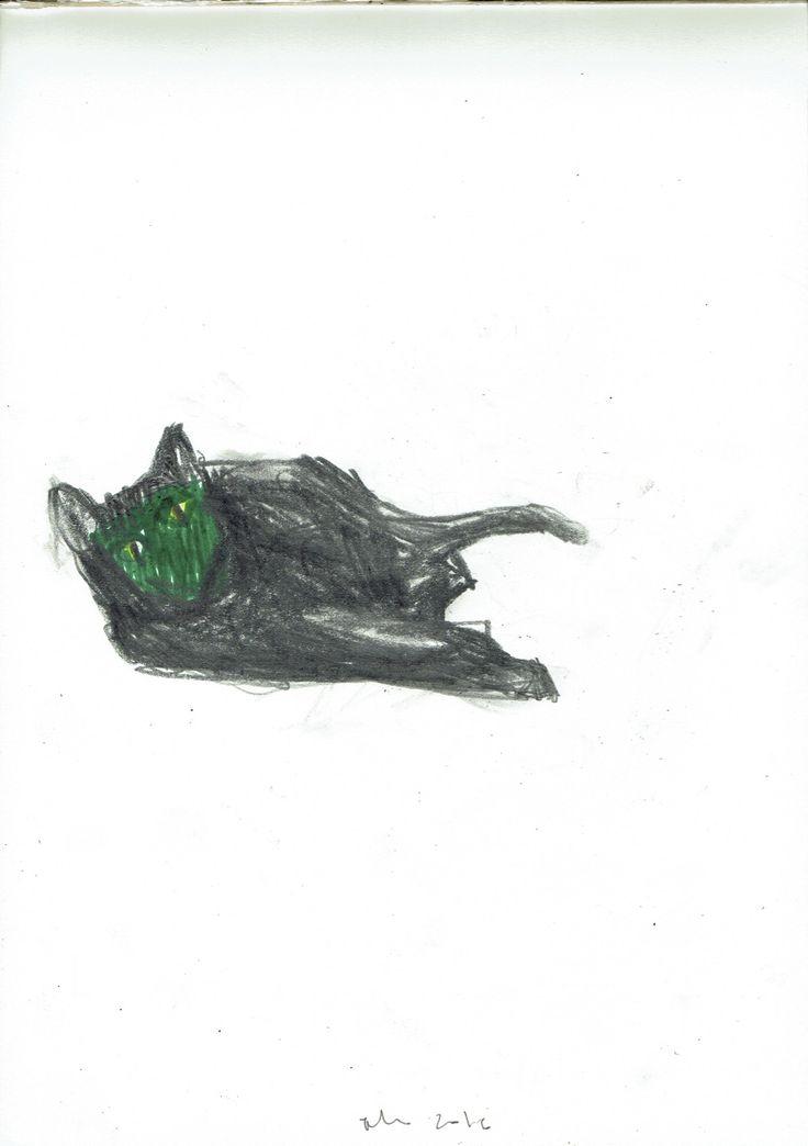 """""""Que fazes por aqui, ó gato?II"""" (a partir de """"Gato"""" de A.o'Neill) 21X29,7, grafite e marcador s/papel"""