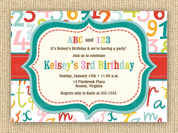 ABC 123 Birthday Party Invitation  DIY Printable by PoofyPrints