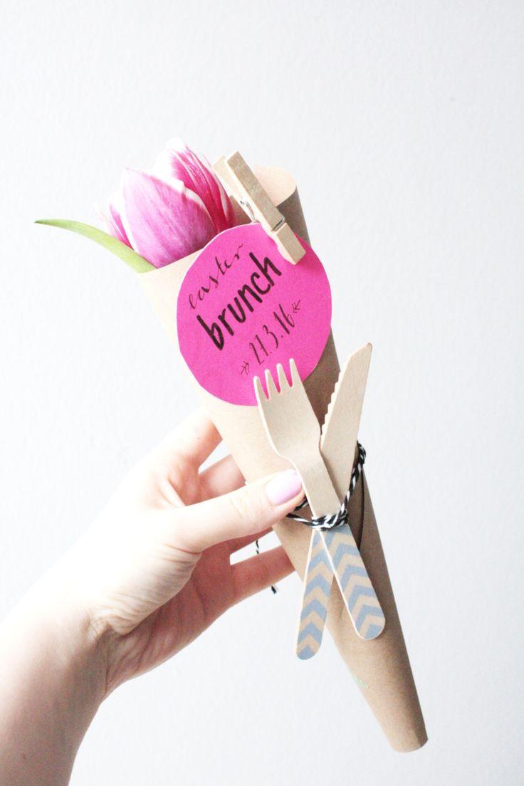 DIY Ostern: Machen Sie eine Einladung zum Brunch   – Gutschein basteln geburtstag