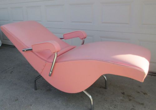 Vintage Retro Reclining Pink Lounger Lounge Chair