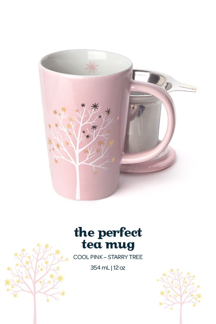 The Perfect Mug - This pretty pink infuser mug has a white tree decorated with shiny gold stars.