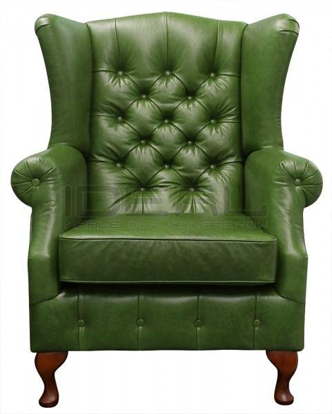Fotele - Fotel Chesterfield Uszak Old W Skórze - Ideal Meble