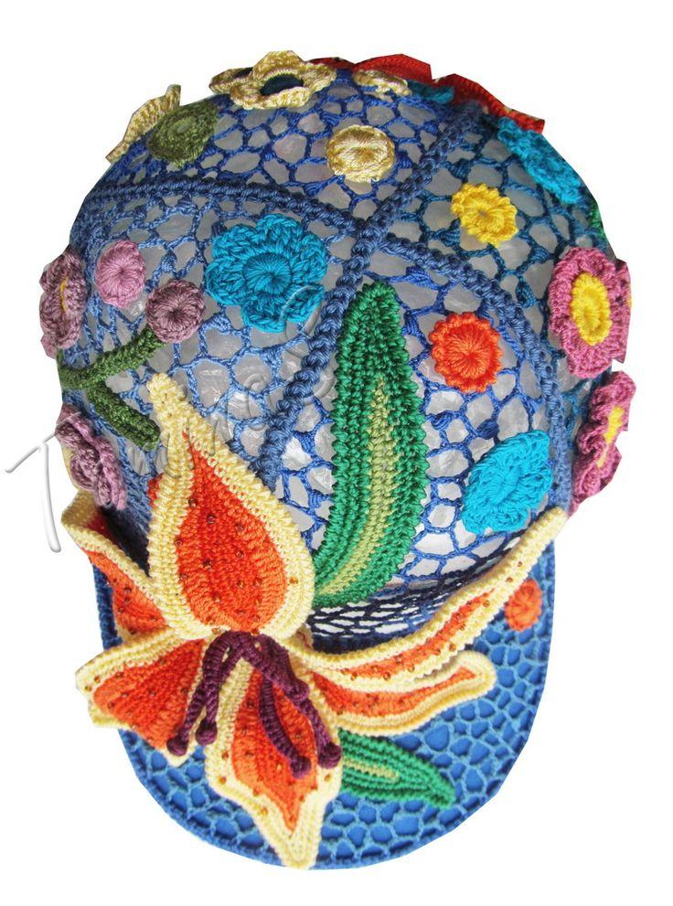 """Crochet baseball cap """"DAY-LILY"""" (lace cap, summer crochet cap, women's baseball…"""