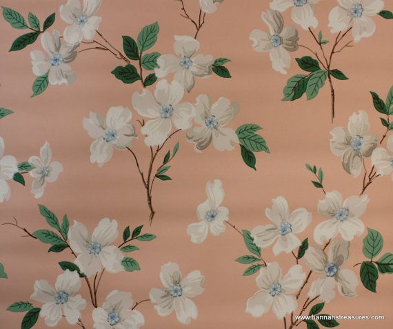 1940's Vintage Wallpaper White And Blue Dogwood On Peach