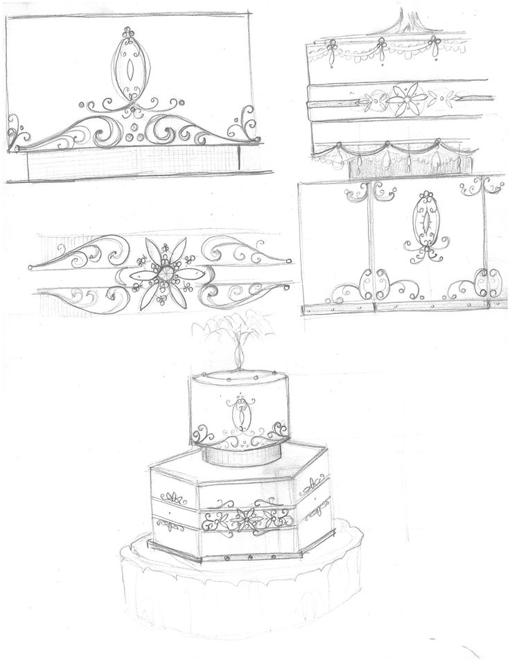 2-tier wedding cake (Pencil)