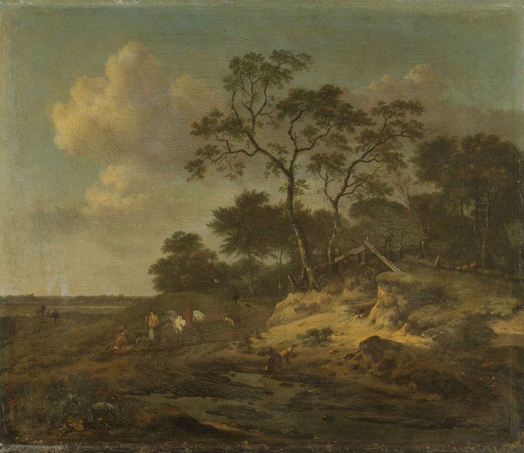 Jan Wijnants | Dune Landscape with Hunters Resting, Jan Wijnants, 1655 - 1684 | Duinlandschap met rustende jagers. Enkele jagers met paarden en honden rusten langs de kant van een zandweg. Een hond drinkt uit een plas.