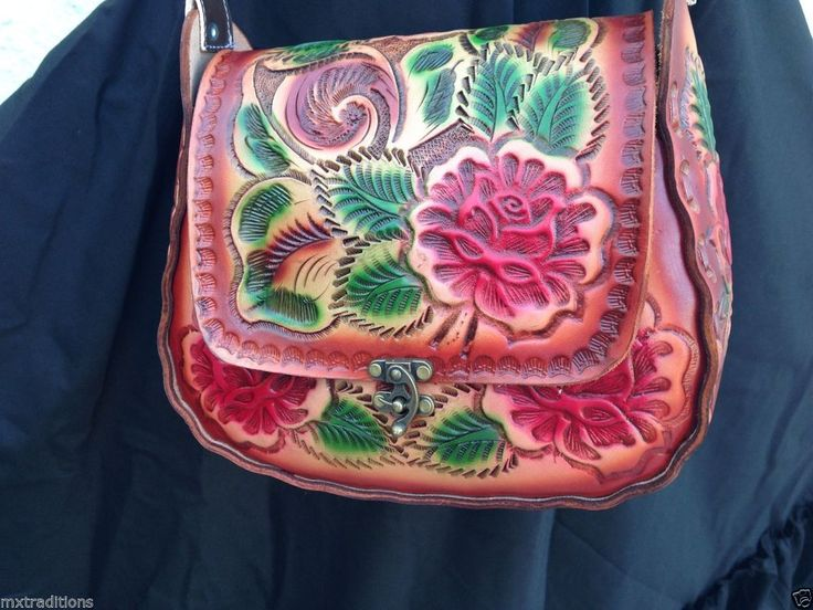 Mexican Handmade Tooled Leather Purse sizeM.Bolsa Mexicana Hecha a Mano en Piel in Clothing, Shoes & Accessories, Women's Handbags & Bags, Handbags & Purses | eBay