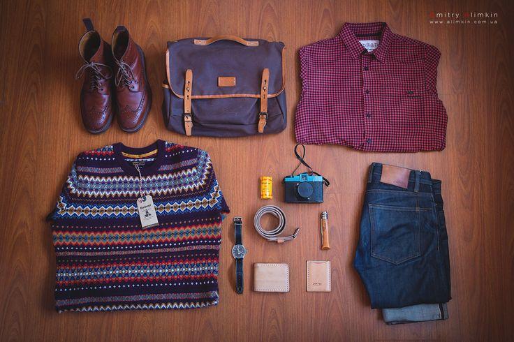 Sweater Barbour, Jeans 3sexteen RAW-Denim, Bag Bleu de chauffe, Shirt TOPMAN, Boots Green George etc