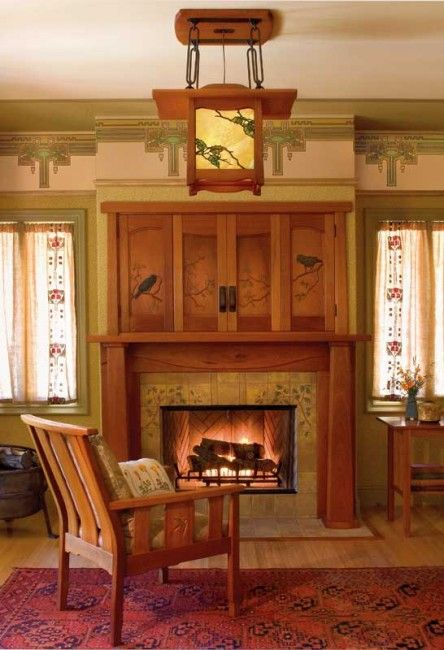Ravens (a popular motif) recall the lively birds in a fireplace grille by Voysey. The oak trees are all about California. Photo: Nathanael Bennett