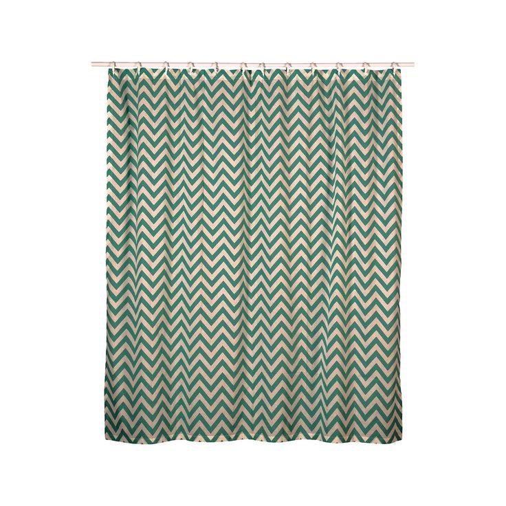 """Rizzy Chevron Shower Curtain - Teal (Blue) (72""""x72"""")"""