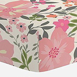Carousel Designs Pink and Orange Floral Tropic Crib Sheet - Organic 100% Cotton Fitted Crib Sheet - Made in the USA
