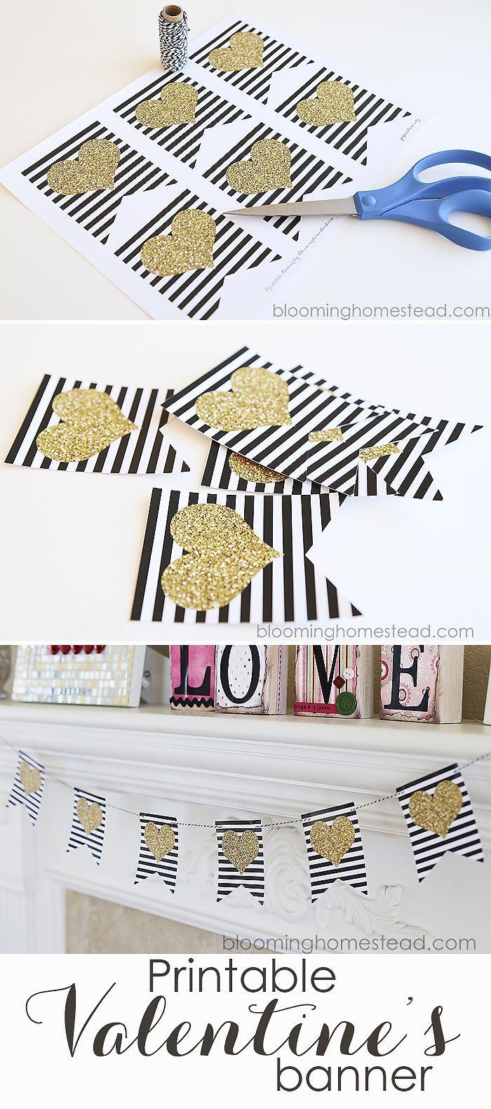 Pretty free printable Valentine's Banner. Love this!
