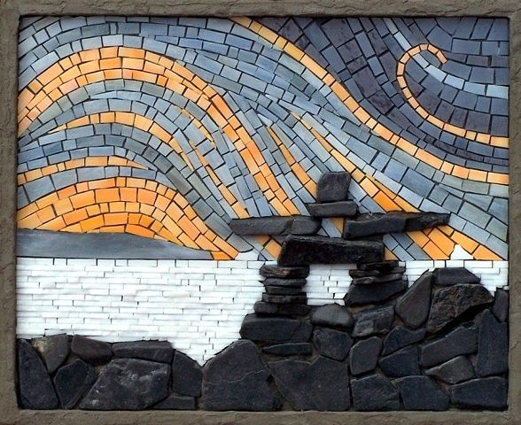 Inukshuk by Terry Nicholls  Maplestone Gallery  Contemporary Mosaic Art   -Repinned by Totetude.com