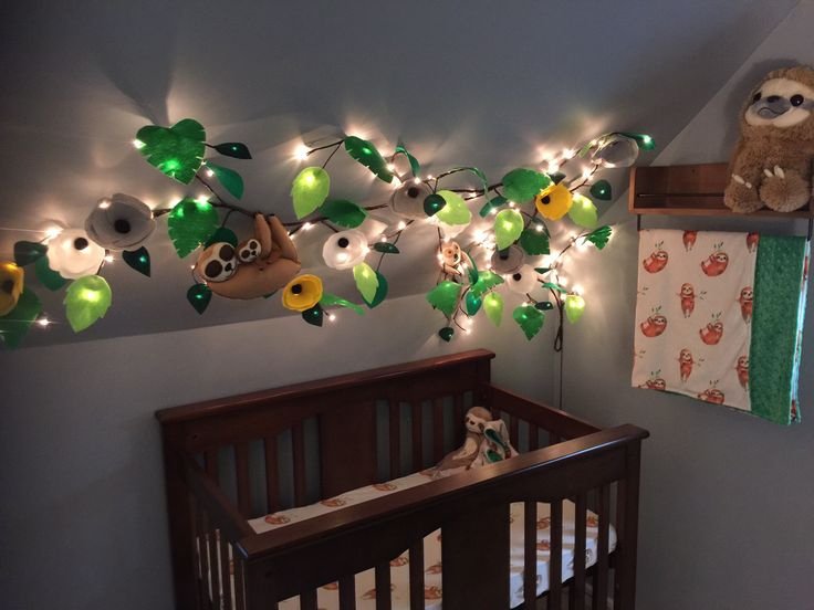 Sloth Baby Nursery With Light Up Tree Branch Felt Flowers