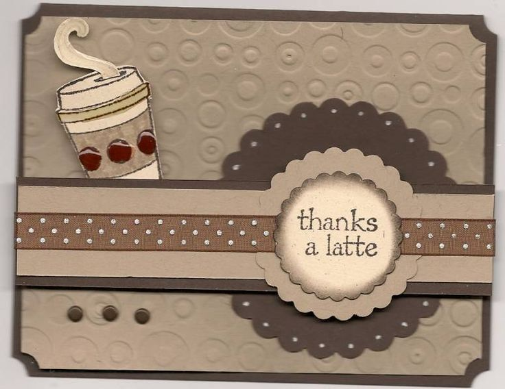 handmade card: Cup of Latte by LPuite ... monochromatic browns ... like the way the belly bands are woven through the layered circles ... Stampin'Up!