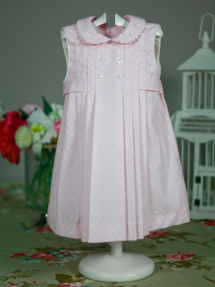 Vestido rosa topito blanco de Niña | Les Bébés