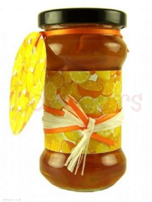 Jarcessories Oranges & Lemons Jar Wrap - an all-over fresh feel design perfect for any marmalades or orange product. Accentuate the look with orange ribbon and/or raffia