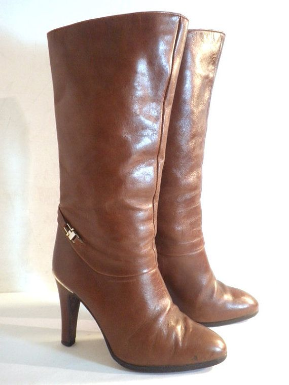 Vintage JUHANI PALMROTH Brown Leather Stiletto Boots, Made in Finland, Sz 6.5