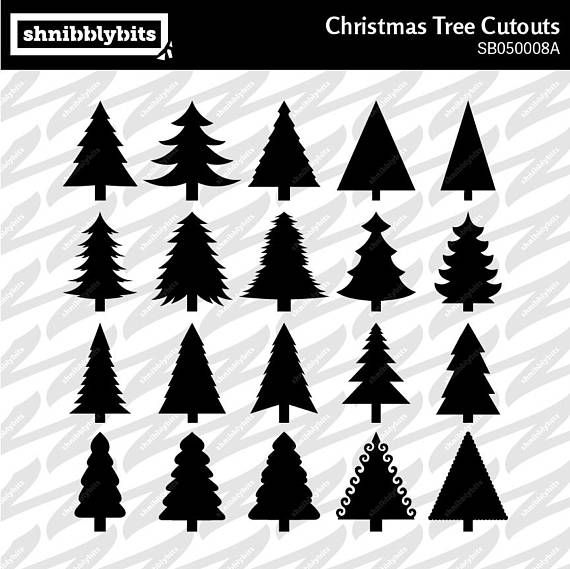 20 Christmas Tree Cutouts  SVG DXF PNG Digital Download