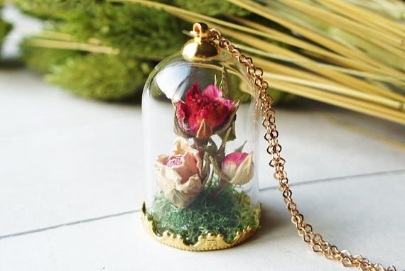 Rose Necklace Gold Antique Real Rose Terrarium necklace Rose