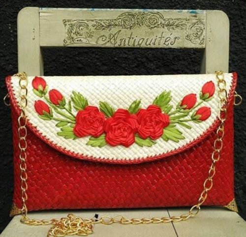 New Bali Handmade Flower Crafted Envelope Clutch Pandan Weaved Satchel Gepenik | eBay